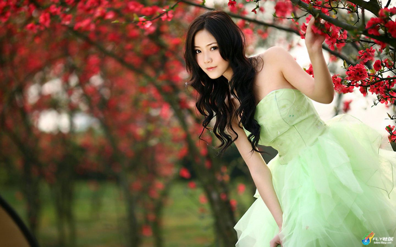 花树下的女孩