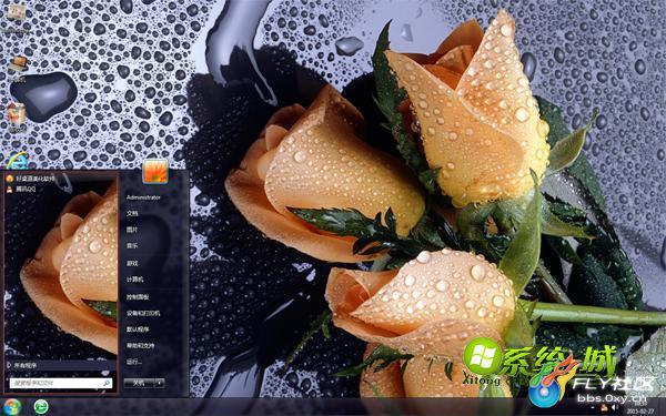 电脑桌面壁纸滴水-图片:20150626164124_39392.jpg-滴水玫瑰win7主题桌面